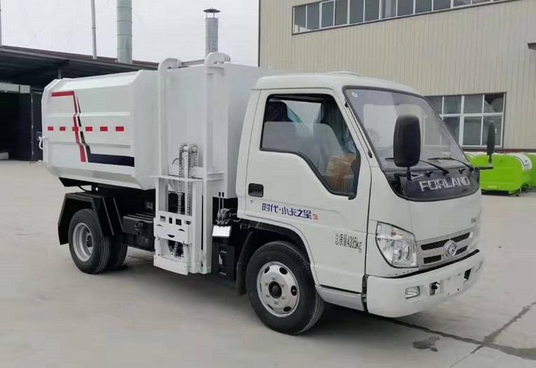福田时代蓝牌侧装压缩式对接垃圾车挂桶式垃圾车(自装卸式垃圾车)图片一