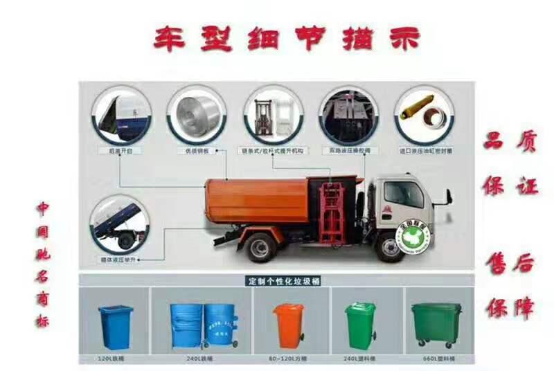 福田时代蓝牌侧装压缩式对接垃圾车挂桶式垃圾车(自装卸式垃圾车)图片七