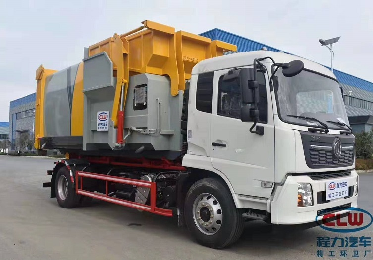 东风天锦勾臂垃圾车配12方智能移动压缩垃圾箱图片一