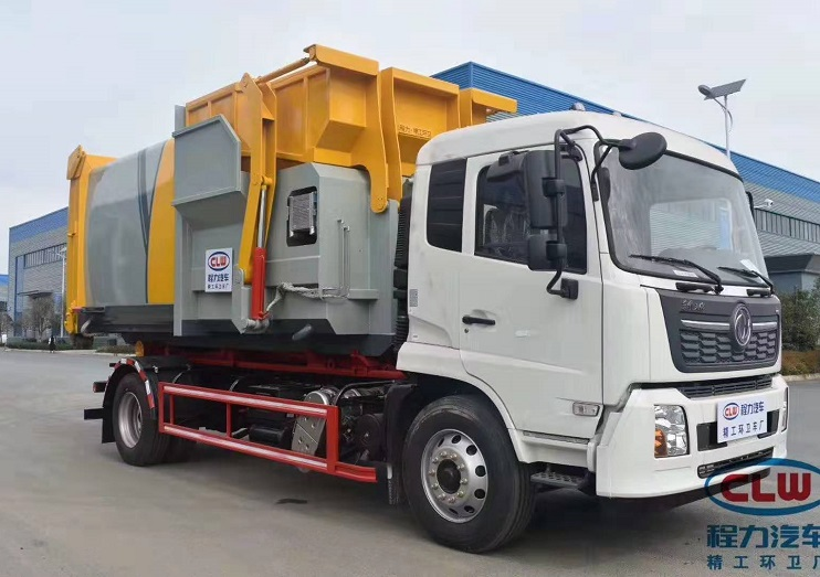 东风天锦勾臂垃圾车配12方智能移动压缩垃圾箱图片九
