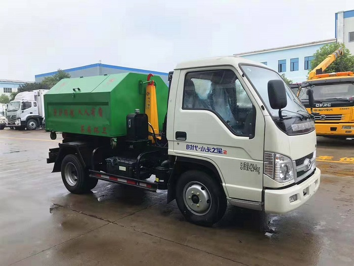 福田时代小卡(5方)车厢可卸式垃圾车(勾臂垃圾车)