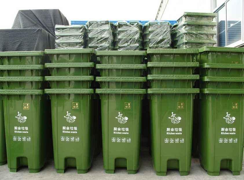 街道保洁120L/240L塑料钢材垃圾桶 带滑轮